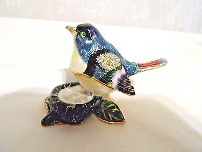 Bejeweled Crystal Enamel Hinged Blue Bird & Nest Gold Tone Trinket Box HEAVY