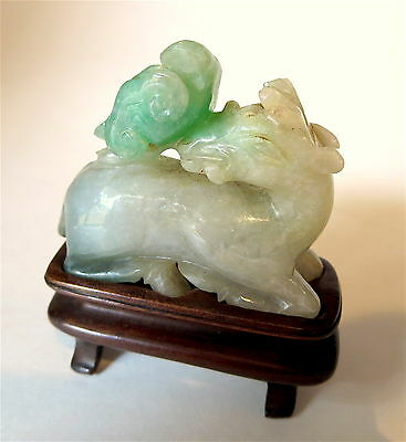 JADEITE Deer CHINESE Antique WOOD Stand APPLE Green