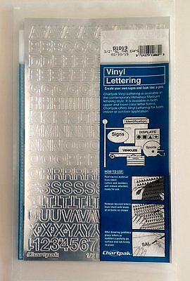 Chartpak 1/2-inch Silver Stick-on Vinyl Letters & Numbers (01019), Full Sheet