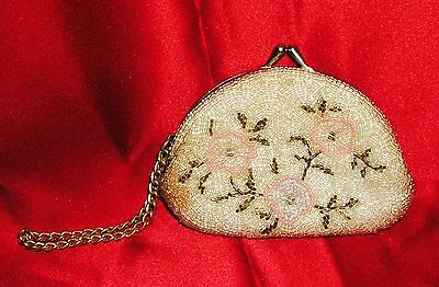 Antique Victorian French Ladies Beaded Coin Change Dance Purse France