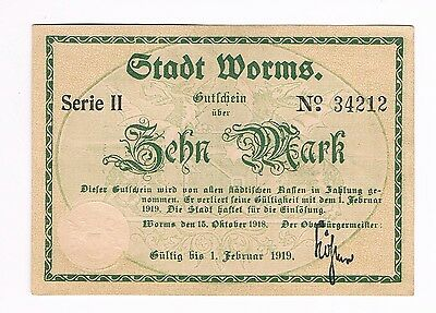 Notgeld Stadt WORMS 10 Mark 1919 (G3/12)