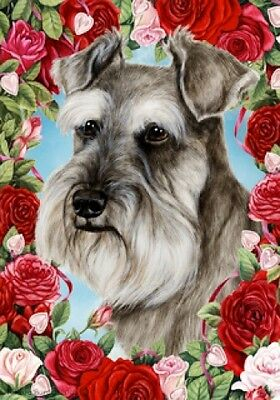Large Indoor/Outdoor Roses Flag - Uncropped Grey Schnauzer 19140