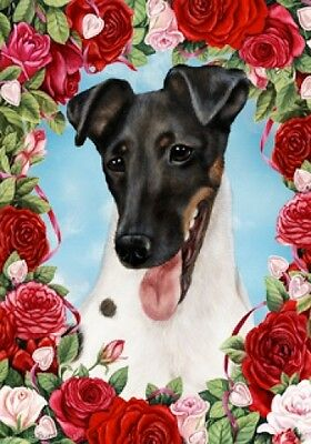 Large Indoor/Outdoor Roses Flag - Tri Smooth Fox Terrier 19212