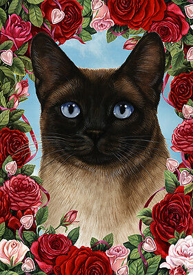 Large Indoor/Outdoor Roses Flag - Siamese Cat 19953