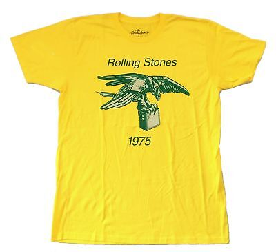 Rolling Stones Eagle Amp 1975 Yellow T Shirt New Official Adult Merch