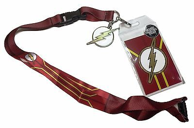DC The Flash Suit Up Breakaway Lanyard w/ID Holder and Charm Keychain
