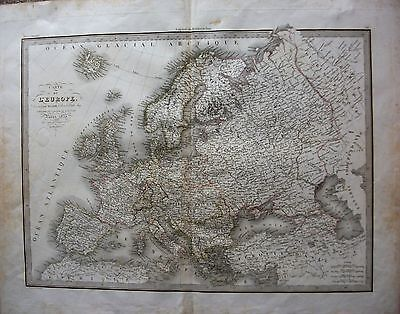 ORIGINAL 1833 MAP of EUROPE IN GOOD CONDITION LARGE SIZE 25 x 20 inches. French