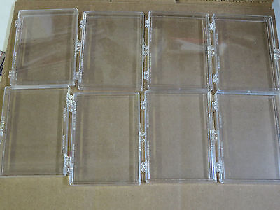 Plastic Hinged Snap Together Trading Card Case Holds Several Cards Lot of 8