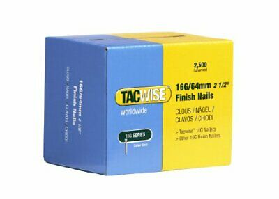 "Tacwise 16G Gauge Finish Nails 64mm (2 1/2"") Box Of 2500 Galvanised 0301"