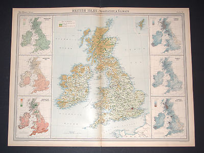 TIMES Map of BRITISH ISLES - VEGETATION & CLIMATE Plate 15, 1922