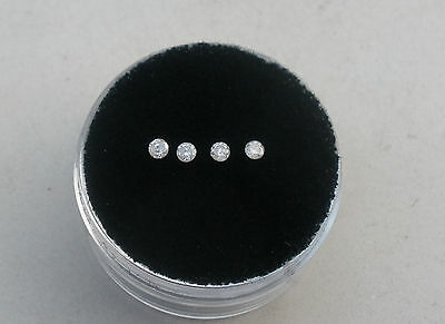 4 Natural White Diamond Loose Faceted Rounds 1.8mm each