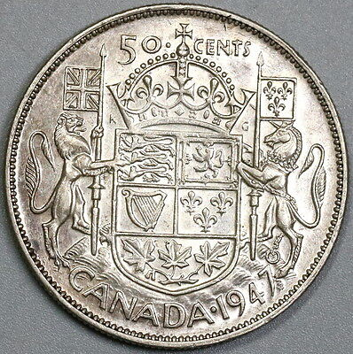1947 ML CANADA Silver 50 Cents Maple Leaf Coin (17041902R)