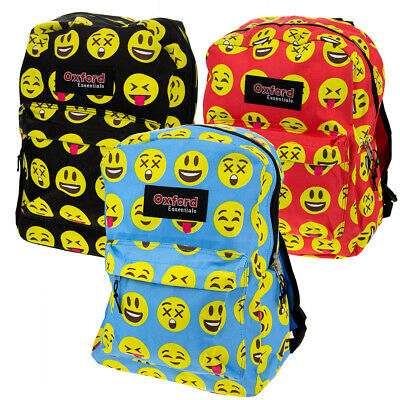 "Kids Oxford Essentials Emoji  15"" Backpack Emoticon Faces Bag For School Camping"