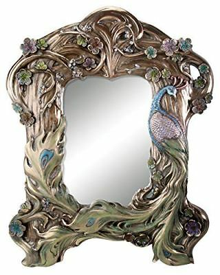 13 Inch Collectible Cold Cast Resin Flower Themed Peacock Mirror
