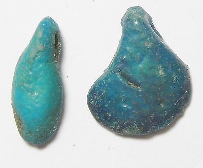 Zurqieh - Af2264- Ancient Egypt. New Kingdom. Lot Of 2 Faience Beads. 1400 B.c