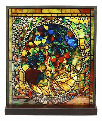 Louis Comfort Tiffany Four Seasons Collection Autumn Stained Glass Art With Base