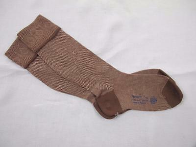 VINTAGE 1940's WW2 ERA CC41 UTILITY MARK BROWN RAYON BOY'S EVACUEE SOCKS - 7""