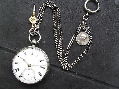 1870s Vintage Solid silver fusee pocket watch with silver chain (fob and key)