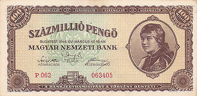 100 000 000 Pengo From Hungary1945!vf++ Banknote!pick-123