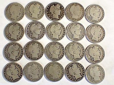 90% Silver Barber Half-Dollars - $10 Face Value Roll - Most Have Full Rims #1