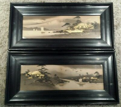 A stunning pair of 1920s Japanese  Paintings highlighted with gilt.