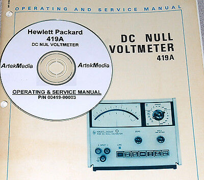 HP Hewlett Packard 419A DC Null Voltmeter Operating & Service Manual + Schematic