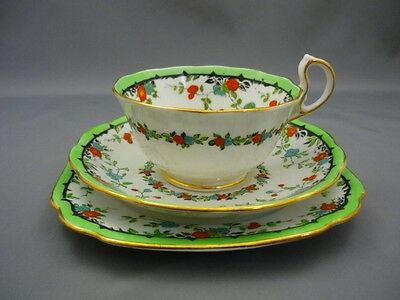 Royal Albert England GAIETY HAND PAINTED Crown China Tea Cup & Saucer Plate Trio