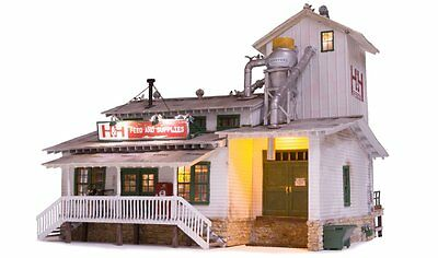 Woodland Scenics BR5859, O Gauge, Built & Ready H&H Feed Mill w/ LED Lighting