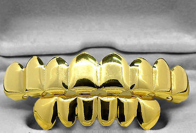 Grillz 24K Gold Plated 8 Teeth Top & Bottom Set tooth mouth grills hip hop bling
