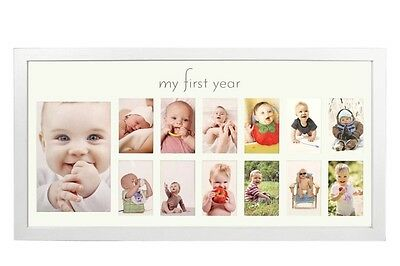 Baby's First Year Frame Elegant Natural Wood Picture Photo Memories White 19x10""