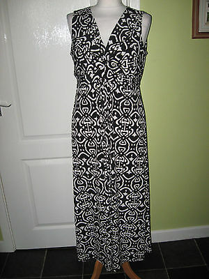 Ladies Size 14 Long Black/white/fawn Jersey Stretch Summer Dress