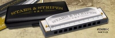 "Hohner STARS & STRIPES"" Harmonica Key of C Harp in plastic carrying case"