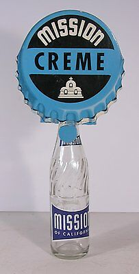 1940s MISSION CREME SODA BOTTLE TOPPER ADVERTISING SIGN IN EXCELLENT CONDITION