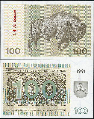 LITHUANIA P-38b 100 TALONAS CURRENCY BANKNOTE BISON DATED 1991 - CRISP UNC!