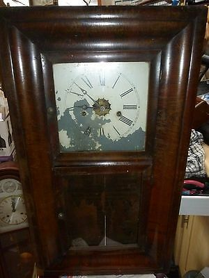 Antique American Wooden Case Wall Clock  8 Day with Chime