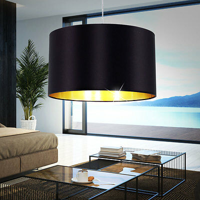 LED Textile Pendant Lamp black Living Room Ceiling Hanging Lamp gold coloured
