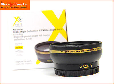 XIT Pro Series High Definition Wide Angle 0.43x Converter 52mm Lens Free UK P&P