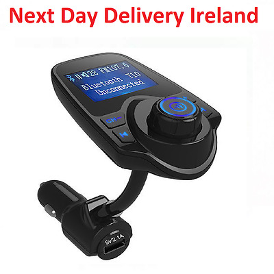 T10 Wireless Bluetooth 1.44 Screen LCD FM Transmitter Handsfree with USB Charger