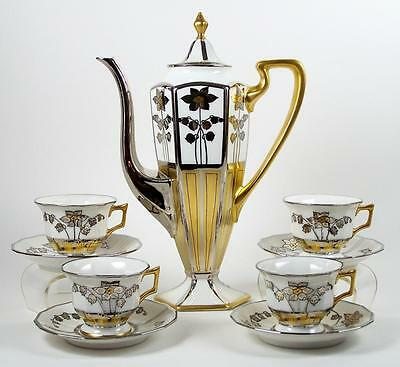 Limoges Chocolate Coffee Espresso Pot 4 Demi Tea Cups Hand Painted Silver & Gold