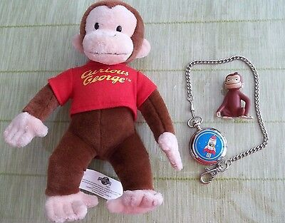 Curious George Lot - Pocket Watch from Universal - Plush George & Action Figure