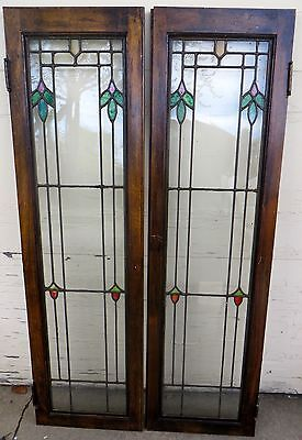 Pair Art Deco Leaded / Stained Glass Cabinet * Bookcase Doors With Floral Desgin