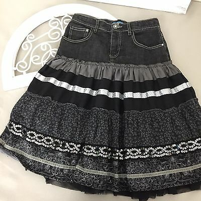 The Childrens Place Girls Skirt Size 14 Ruffled Layers Jean