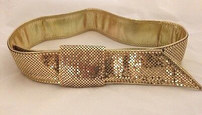 """Stunning Metallic Shimmery Gold Mesh Whiting & Davis 2""""wide Belt M Leather Lined"""