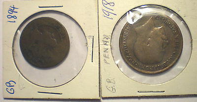 Great Britain England old coins lot 1894 half penny and 1918 penny coin