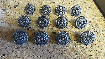 Lot of 12 Vintage Metal Flower Knobs Pulls