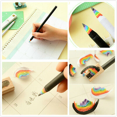 2Pcs Chic Black and White Rainbow Pencil Drawing Painting Pencils Stationery New