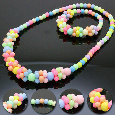 Candy Colors 2016 Necklace&Bracelet Set Cute Lovely Stylish Girls Baby Fashion