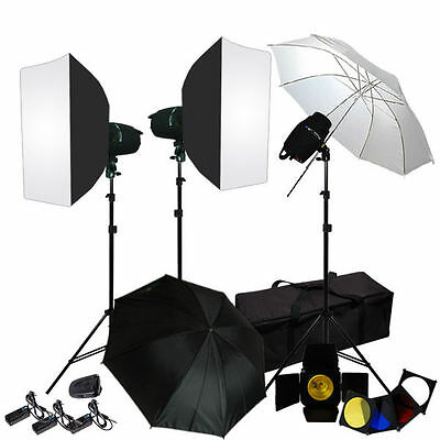 Lusana Studio Photo Umbrella Softbox 3 Flash Strobe Lighting Studio Light Kit
