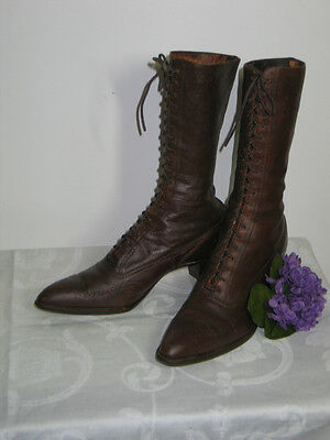 Antique Victorian Edwardian Dark Brown Leather High Top Lace Up Shoes Boots