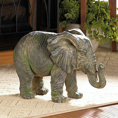 ELEPHANTS: Gorgeous Weathered Iron Elephant Statue Indoor / Outdoor NEW